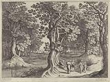 Forest landscape with five travelers