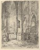 Church interior with a boy and a seated woman