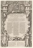 Title print with text, allegorical figures, coats of arms, ornaments and putti