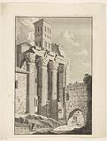 Roman ruin with three Corinthian columns
