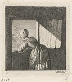 Woman leaning on an under door