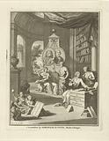 Interior of the library in which the portraits of Willem Sewel and Egbert Buys on a monument