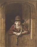 Boy leaning over an under door
