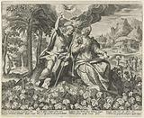 Christ and his bride in a vineyard