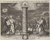Two angels worship a pillar