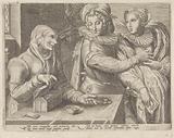 Young couple and an old woman with money box (Uneven love)