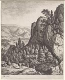 Rocky landscape with travelers