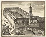 Bird's eye view of the Bourse of Hendrik de Keyser in Amsterdam, before 1668