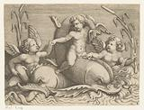Three putti with dolphins