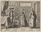 Couple and servant in an interior