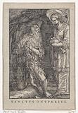 Saint Onyphrius the Great as a hermit with angel