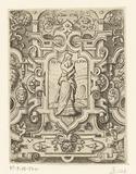 Pyrrha in a scroll work frame