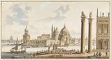 View of the Sta. Maria della Salute from St Mark's Square in Venice.