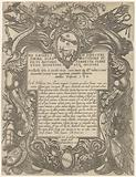 Title print with cartouche with two winged figures, coats of arms and weaponry
