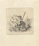 Bubble-blowing putto with a scythe