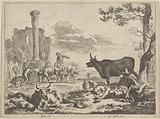 Landscape with shepherds and cattle at a watering hole