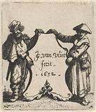 Man and woman on either side of a coat of arms