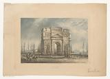 Landscape with the triumphal arch of Orange with travelers
