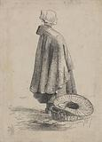 Woman with a cape standing next to a wicker basket