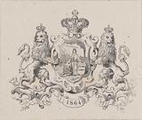 Dutch Virgin and Dutch Lion in an ornamented frame with a crown, two lions and the year '1864'