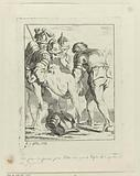 Undressed soldier is carried away by four other soldiers