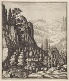 Rocky mountain landscape with farmers