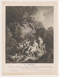 Four naked shepherdesses in a rocky landscape