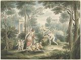 Arcadian landscape with Athens crowning an old man and Venus and Adonis