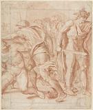 Mythological representation with Mercury and warring men