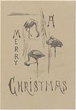 Christmas card with three flamingos