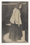 Woman with box or basket
