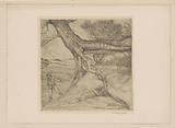 Sower and lying figure with folded hands in a landscape
