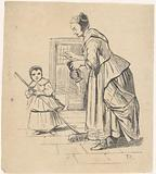 Woman with jug and girl with broom