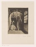 Woman sweeps a hallway with stairs