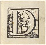 Letter D in a frame with a biblical representation