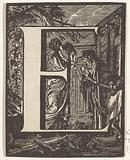 Letter E in a frame depicting the mockery of Ceres
