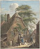 Family in front of a farmhouse