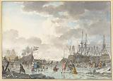 Frost Fair on a Frozen River with Ships