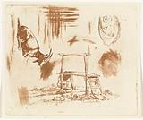 Study sheet with lying goat, a wooden bench and a drapery