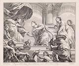 The Queen of Sheba challenges Solomon with riddles