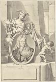 Putti and a woman near a medallion with the portrait of Arnold Houbraken