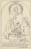 Decorative cornucopia putti design with a portrait of Josephus Augustinus Brentano