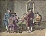 Gentlemen playing cards in interior