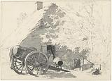 Milk cart with horse for a farm