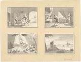 Four illustrations from the story of Isaac, Jacob and Esau