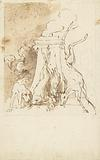 Design for a hunting game with dead game and hunting dog