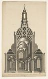 Cross section of a dome church for the Botermarkt in Amsterdam
