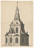 Front and side view of a dome church for the Botermarkt in Amsterdam