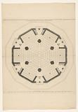 Floor plan with the third layer of a dome church for the Botermarkt in Amsterdam
