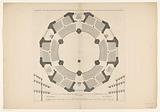 Floor plan with fifth layer of a dome church for the Botermarkt in Amsterdam